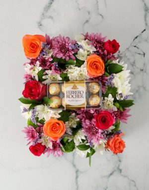 Vibrant Mothers Day Flowers And Choc Crate