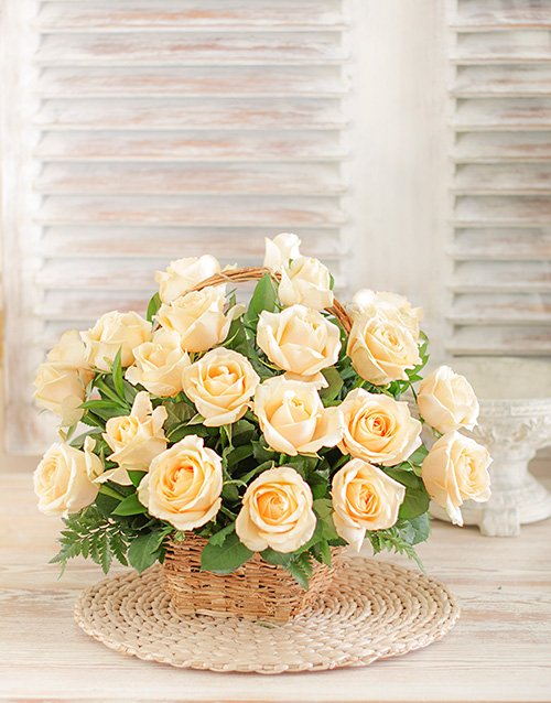 roses Cream Roses in a Woven Basket