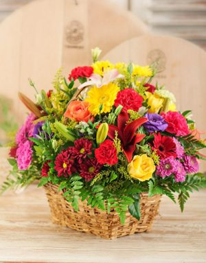 sympathy Bright Country Flowers in a Basket