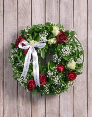 flowers Condolences Red and White Rose Funeral Wreath