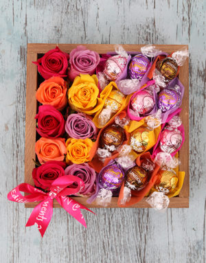 birthday Delightful Roses and Lindt Crate