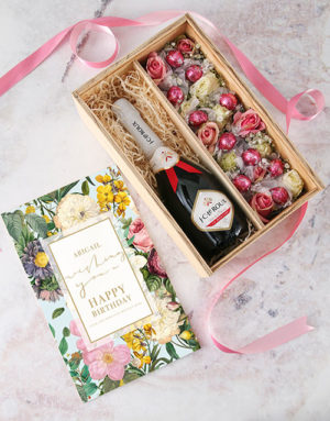 birthday Personalised Happy Birthday Bubbly and Roses Crate