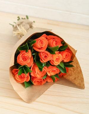 roses Orange Roses in Craft Paper