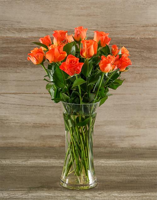 roses Orange Roses in a Glass Vase