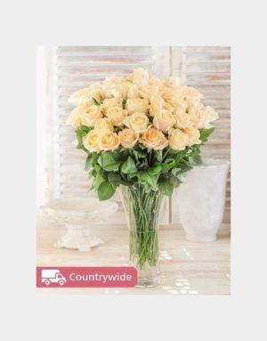 sympathy Cream Roses in a Vase