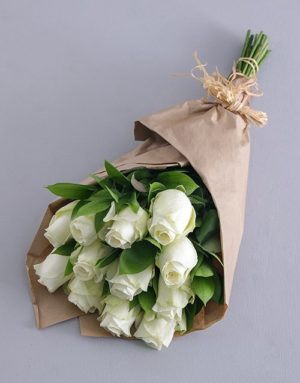 birthday White Roses in Craft Paper