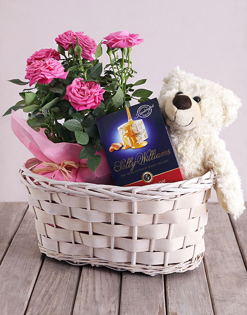 roses Roses and Cuddles Gift Basket