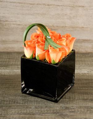 roses Orange Roses in Black Square Vase