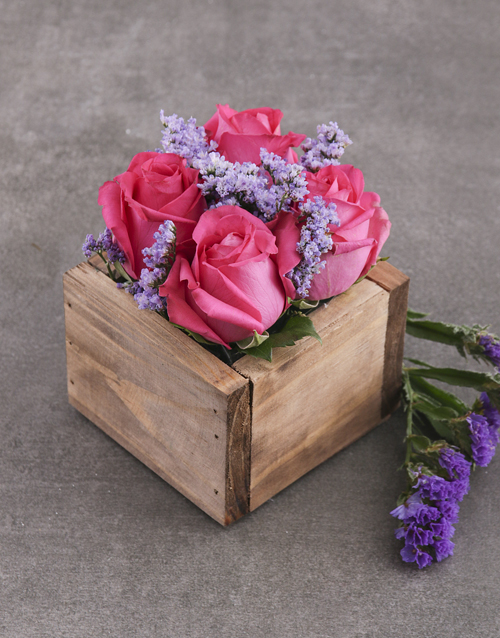 roses Cerise Roses in Wooden Box