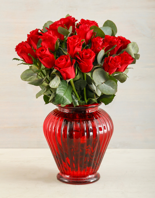 roses Rich Red Roses in a Vase