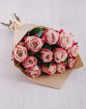 roses Variegated Pink Roses in Craft Paper