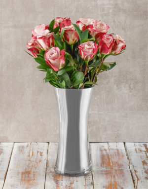 roses Pink and Silver Arrangement
