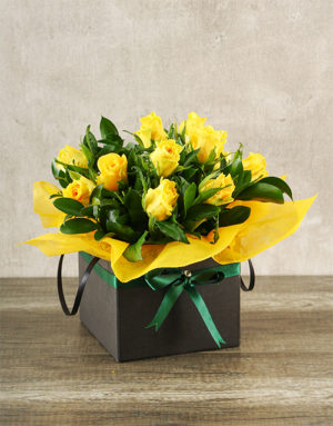 flowers Yellow Roses in Boxed Handbag