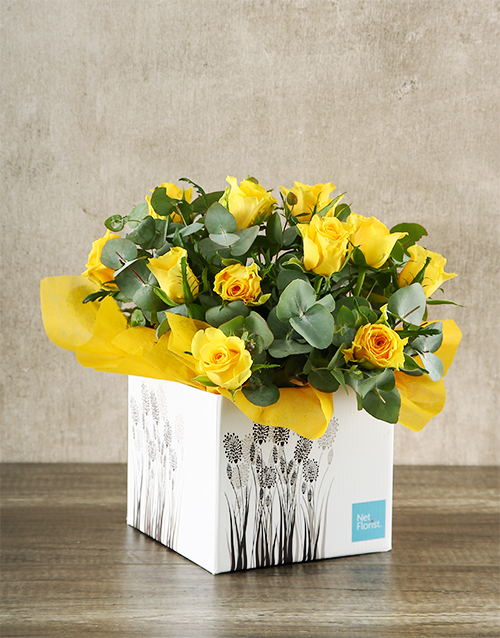 roses Yellow Roses in White Craft Box