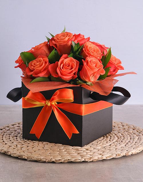 roses Orange Roses in Black Square Box