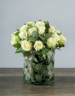 roses White Roses in a Round Vase