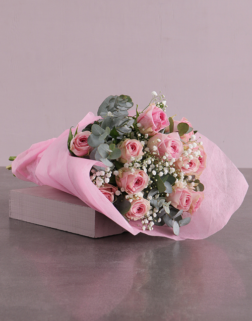 roses Pink Roses Bouquet in Pink Paper