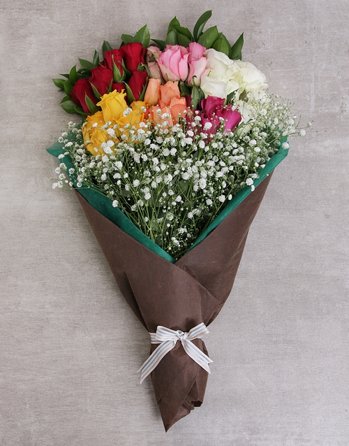 roses Rainbow Roses in Craft Paper