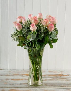 roses Bunch of Pink Roses in Vase