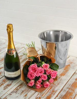 roses Pink Rose Bouquet, Progracz and Ice Bucket