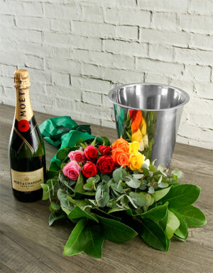 roses Mixed Roses, Moet and ice Bucket