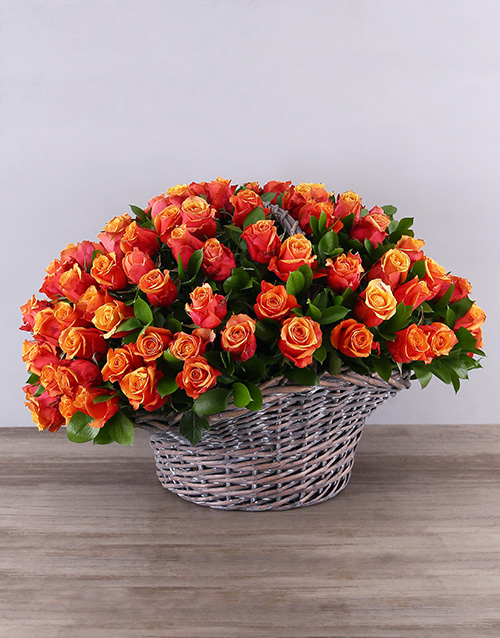roses Gray Basket of Cherry Brandy Roses