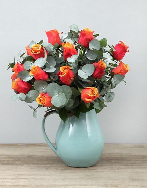 roses Cherry Brandy Roses in Ceramic Jug