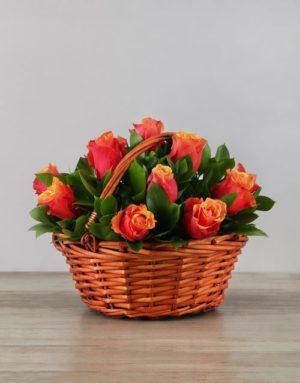 roses Basket of Cherry Brandy Roses