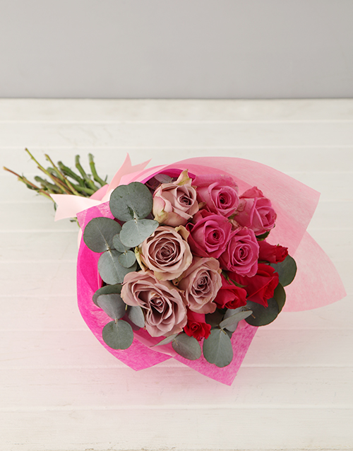 roses Lilac and Pink Rose Bouquet