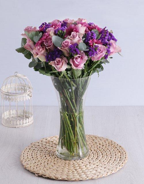 sympathy Roses & Sprays in Clear Flair Vase