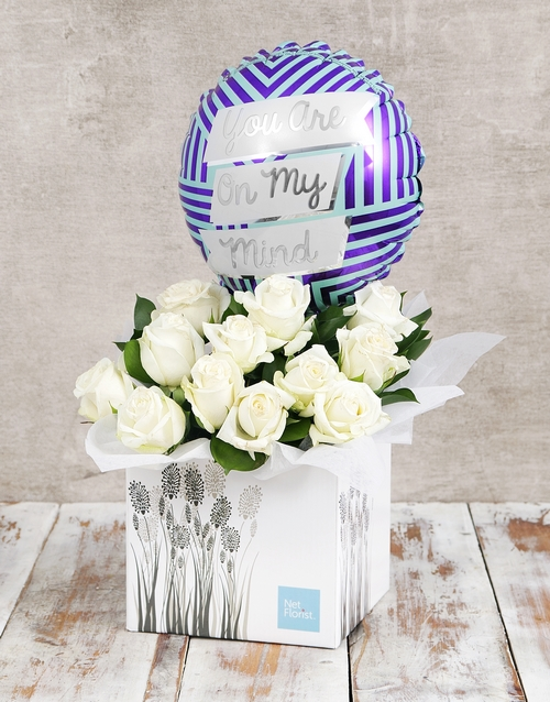 roses On My Mind Balloon and White Rose Box