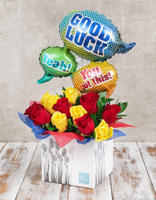 roses You Got This Balloon and Rose Box