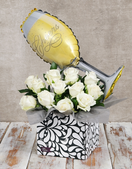 roses Champagne Balloon and Rose Box