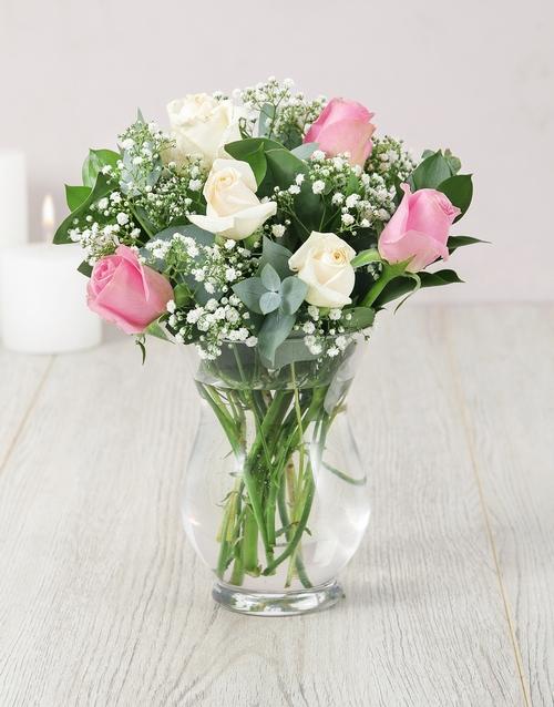 roses Roses and Million Star in Hurricane Vase