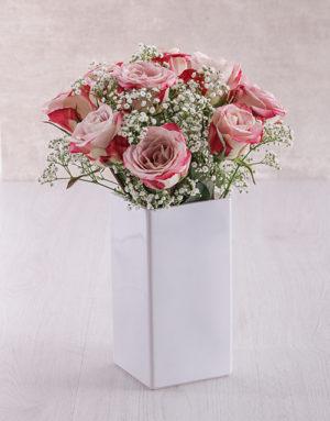 roses Variegated Roses in Square White Vase