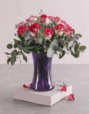 roses Variegated Roses in Purple Lady Vase