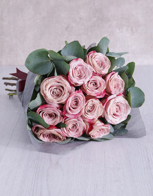 roses Variegated Roses and Gum Leaves Bouquet