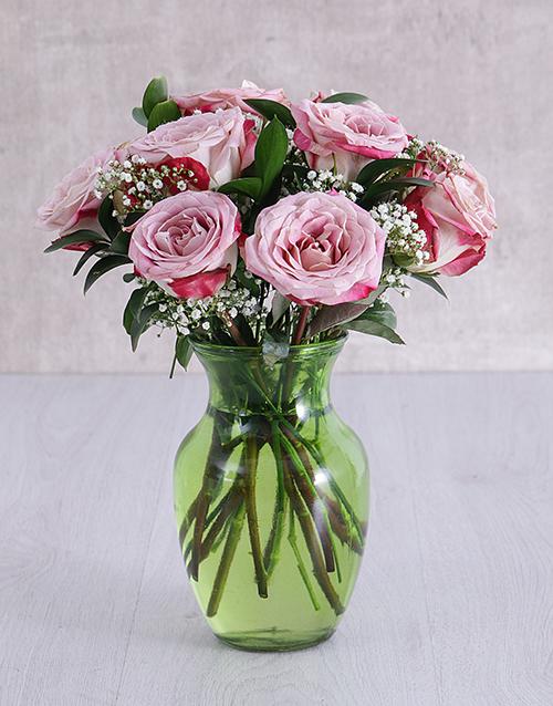 roses Variegated Roses in Lime Green Vase