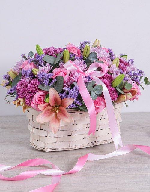 sympathy Pink and Purple Sympathy Basket