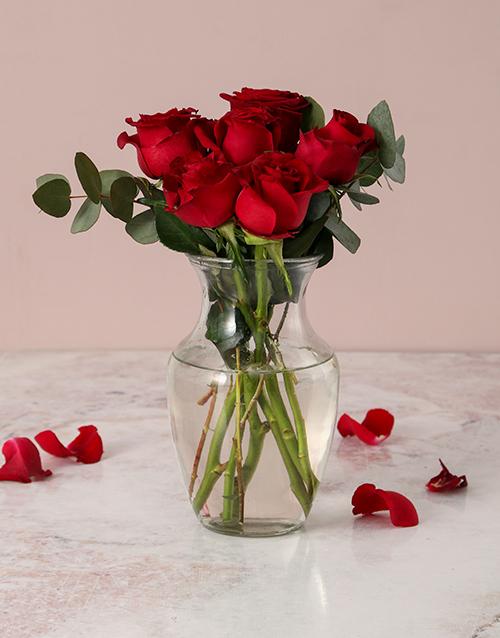 roses Red Roses in Carafe Vase