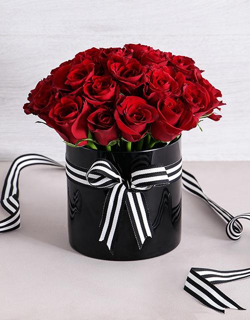 roses Red Roses in Black Cylinder Vase