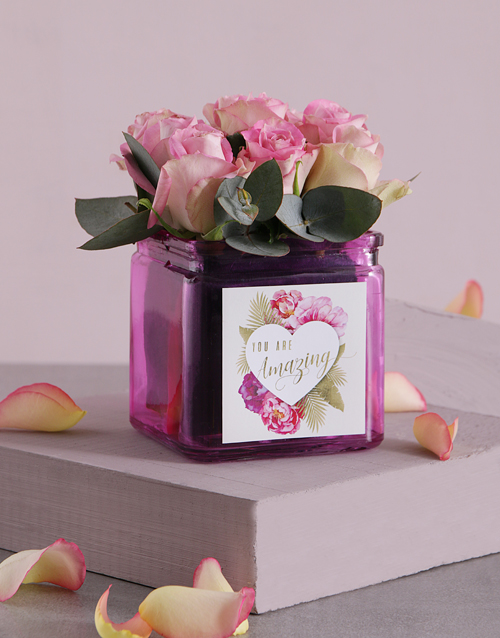roses Pink Love Roses in Square Vase