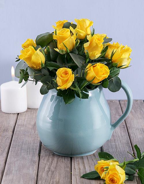 roses Yellow Roses in Ceramic Water Jug