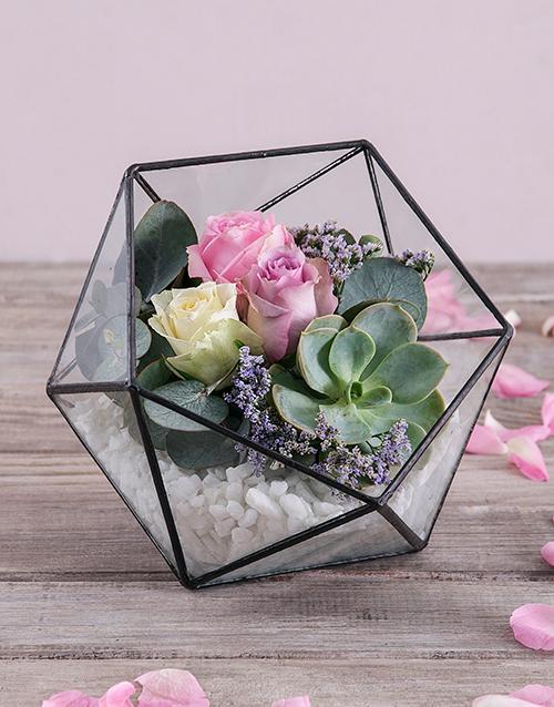 roses Rose Succulent Terrarium