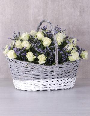 roses Radiant White Rose Basket