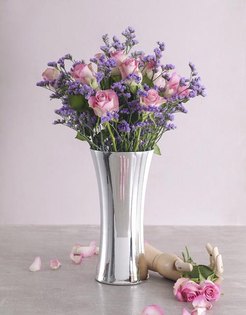 roses Blushing Pink Roses in Silver Vase