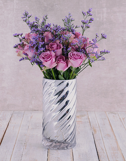 roses Graceful Purple Roses in Cylinder Twirl