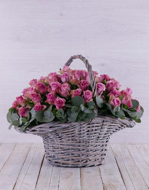 roses Purple Rose in Willow Basket