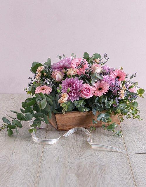 sympathy Delicate Floral in Wooden Box