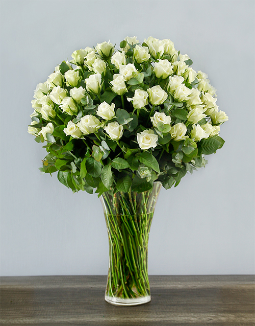 roses 100 White Roses in a Tall Glass Vase